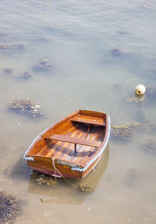 murky: A wooden rowing boat moored alone in murky waters