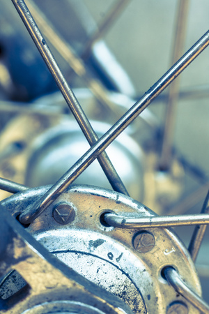 spokes: Close-up of a bicycle wheel hb and spokes