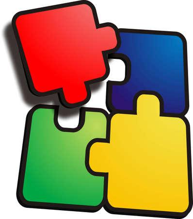 3D Puzzle Stock Photo