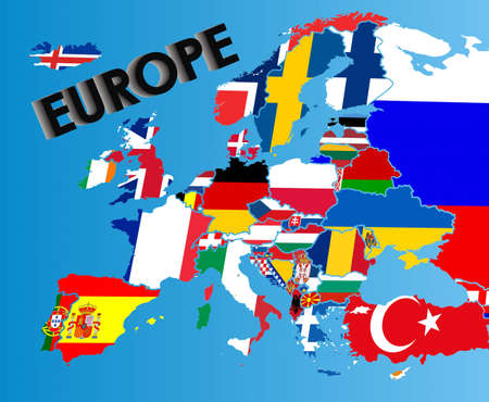 Flag map of Europe