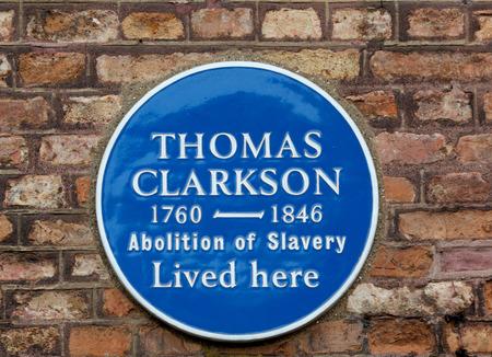 abolitionist: Plaque to commemerate Thomas Clarkson - Slave Abolisionist