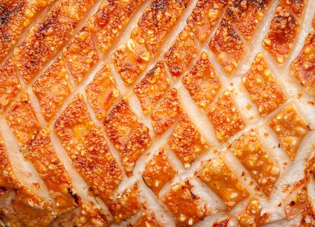 Pork Crackling on a hogroast Stock Photo