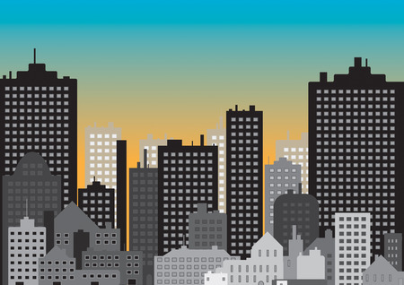 a6: A vector of a city in the morning at the start of a new day Illustration