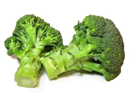 Two pieces of fresh Broccoli isolated on a white background