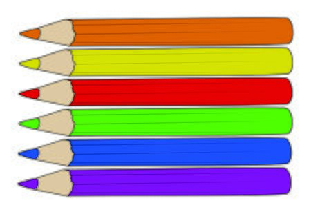 vector of a collection of colored pencils arranged in a row isolated on a white background