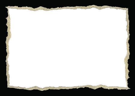 Torn paper rectangle shape isolated on a black background Reklamní fotografie