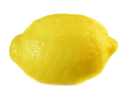 Single whole lemon, isolated on a white background