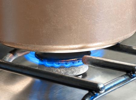 Saucepan being heated on a gas hob