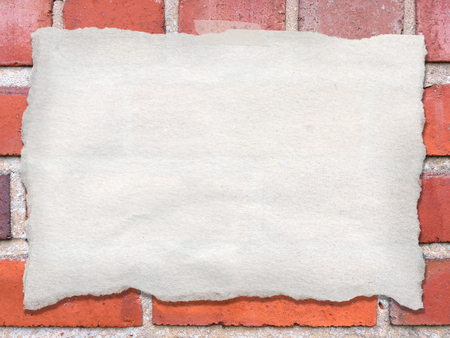 Sheet of blank torn paper taped on a wall, showing the paper texture and fibers