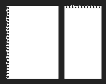 黒の背景に破れたメモ帳紙ベクトル