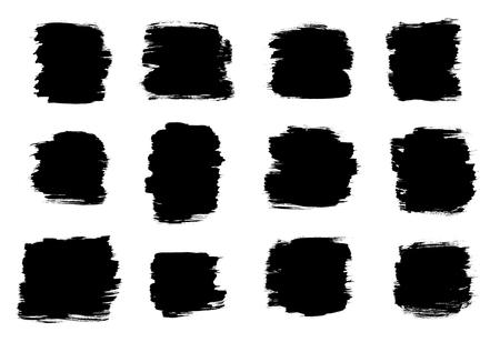 Black Brush stroke shapes isolated on a white background Reklamní fotografie