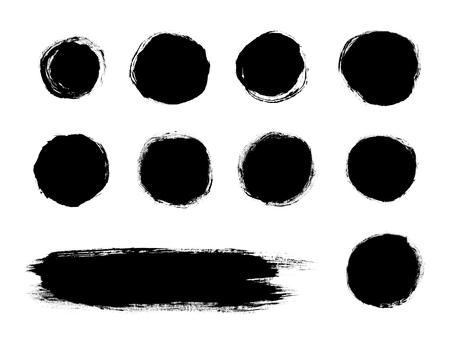 Black painted brush stroke shapes isolated on a white background Reklamní fotografie