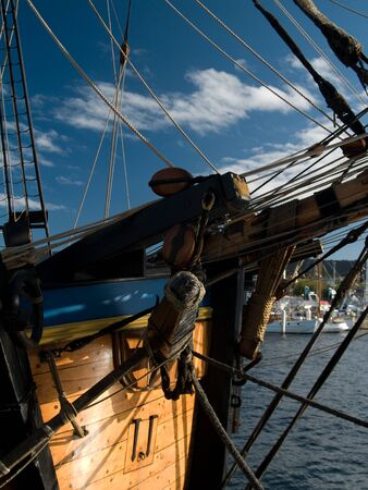 ship bow: view of wooden sailing ship bow