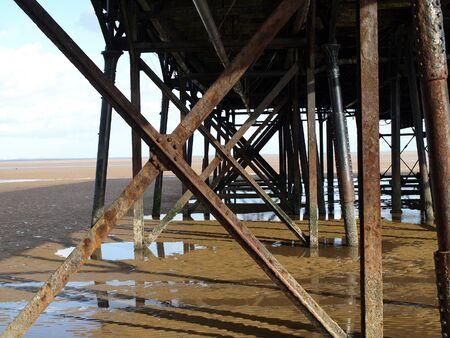 girders: Steel girders holding up a pier
