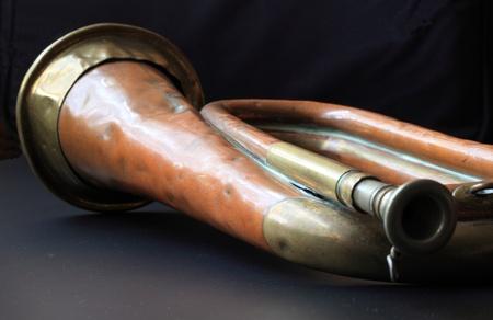 bugle: Old Battered Bugle  Stock Photo