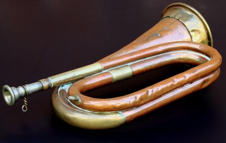 bugle: An old army bugle.