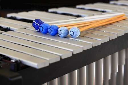 soft pedal: A close up of a vibraphone and mallets  Stock Photo