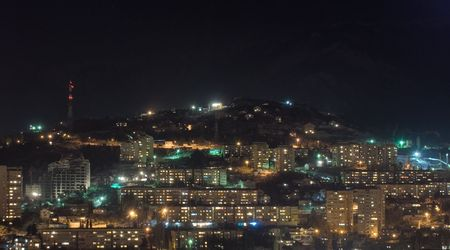 Yalta town at night, Ukraine, Crimea Stock Photo - 2539181