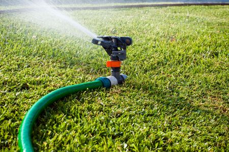 irrigation equipment: Lawn sprinkler spraying water on the grass Stock Photo