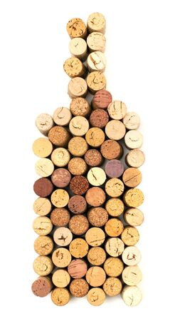brown cork: The image of bottle made from wine corks Stock Photo
