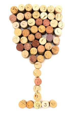 stopper: The image of wineglass made from wine corks