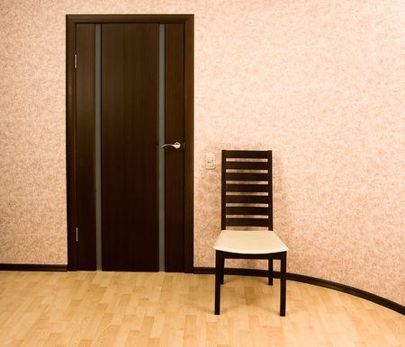wengue: Casa interior: Modern color de wengu� madera silla y puerta