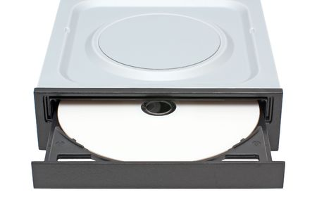 DVD Drive with disk isolated on a white background photo