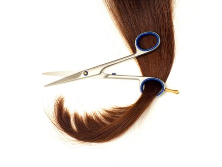 Scissors and lock of hair isolated on white background Stock Photo - 6429530