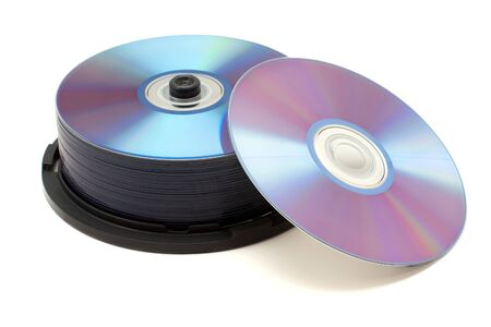dvdr: Stack of dvds isolated on white background Stock Photo