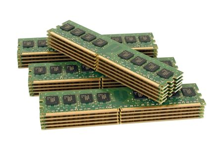 megabyte: 4 pile of computer memory modules, isolated Stock Photo