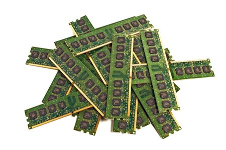 Heap of PC memory modules DDR2, isolated with soft shadows photo