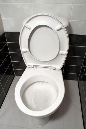 White toilet bowl with open toilet seat cover photo