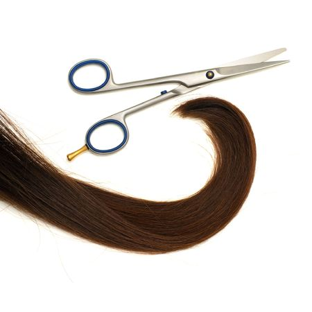 Scissors and lock of hair isolated on white background Stock Photo - 6627905