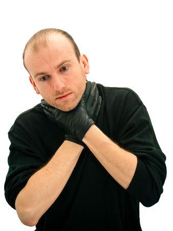 Portrait of man choking himself, isolated on white background photo