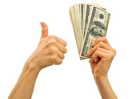 Bundle of money in the hand - symbol of success in business photo