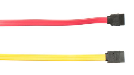 sata: Red and yellow SATA interface cables for connecting hard disk drive and motherboard
