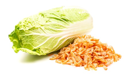 Cabbage and shrimps  isolated on a white background photo