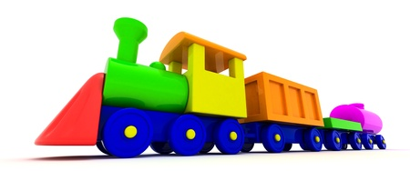 Toy train isolated on the white background photo