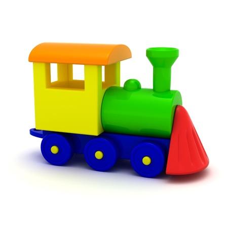 Toy locomotive isolated on the white background photo