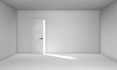 ajar: Ajar door in empty white room. Three-dimensional objects.