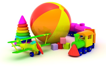 Multicolored plastic toys isolated on the white background photo