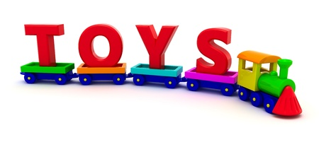 Red letters Toys on the toy train photo