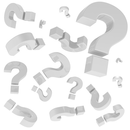 A lot of question marks isolated on the white background photo