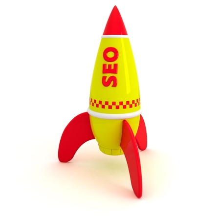 Red word SEO written on the yellow rocket Stock Photo - 9301139