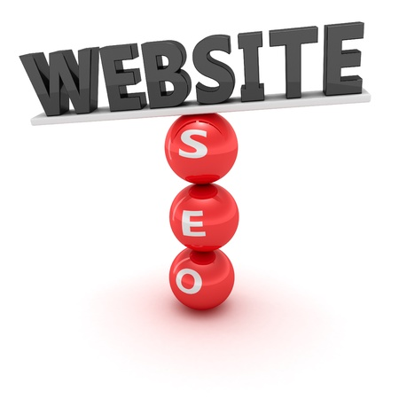 correlation: Unstable construction of black word Website on the red spheres with word  SEO