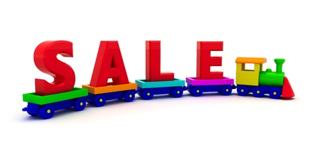 The word Sale on the toy train photo