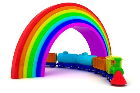 Toy train under rainbow bridge photo