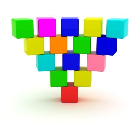 pyramide humaine: Pyramide invers�e de cubes de jouet isol�es sur un fond blanc