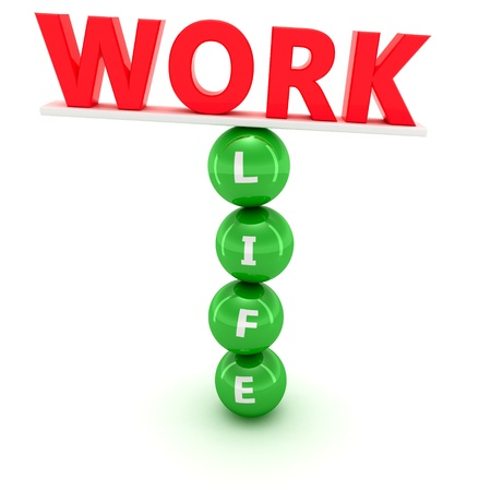 correlation: Unstable construction of red word Work on the green spheres with word  Life Stock Photo