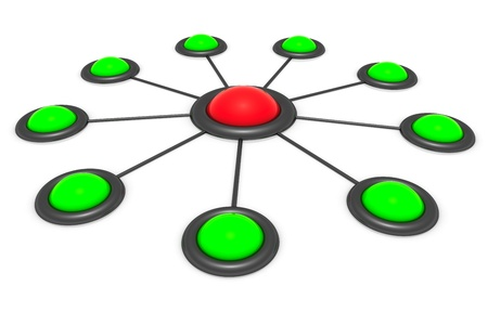 correlation: Circle scheme - buttons connected by links  Stock Photo